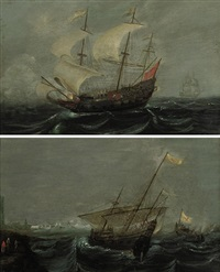 a dutch man-o-war and other shipping in choppy waters (+ shipping off the coast; pair) by arnoldus van anthonissen
