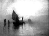 barques de pêcheurs au clair de lune sur l'escaut by daniel-jules-camille koechlin