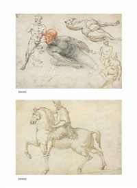 studies of male and female nudes, a satyr, a camel and other beasts (recto), the marcus aurelius equestrian statue (verso) by cherubino alberti