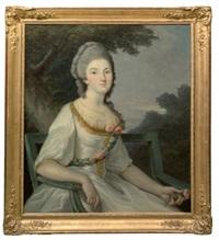 portrait de jeune fille sur un banc by lié-louis périn-salbreux
