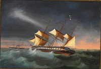 the spanish screw frigate villa de madrid and the spanish ironclad frigate vitoria on open sea by juan font y vidal