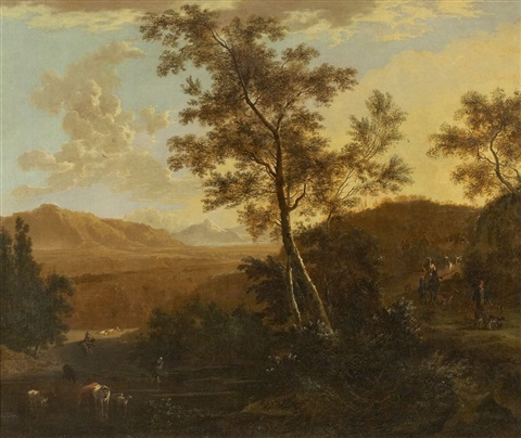southern landscape with cattle and herdsmen by frederick de moucheron