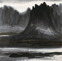 渡 镜心 设色纸本 (landscape) by lin fengmian