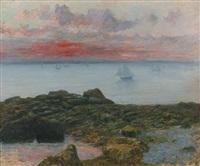 bateaux, soleil couchant by maurice françois auguste courant