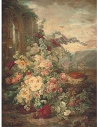 a book on a plinth by a rose bush at the ruins by simon saint-jean