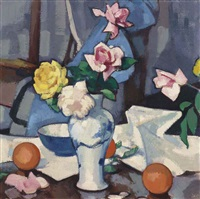 still life with roses in a blue and white vase by samuel john peploe