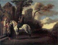 a traveller on horseback taking refreshments at an inn in a landscape by pieter cornelius verbeeck
