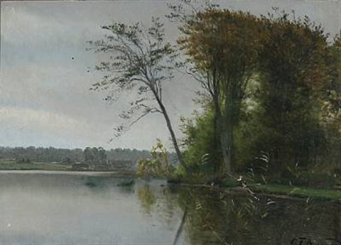 view of a lake with two children fishing by carl frederik peder aagaard