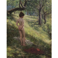 akt im wald - nude in a glade by hermann moest