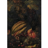 still life with cantaloupe, grapes, figs and pomegranate by luca forte