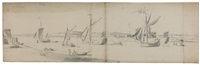 royal yachts at portsmouth (on 3 joined sheets) by willem van de velde the elder