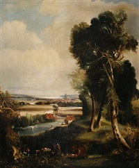 a river landscape with an estuary beyond by henry mark anthony