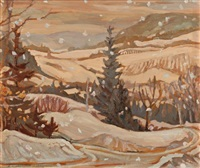 snowy day at the ski house; autumn sketch (recto-verso) by geneva a. jackson
