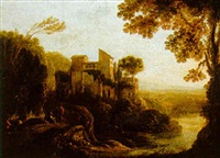 an italiante river landscape with figures resting on a track by a villa by hans de jode