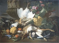 gibier, bouquet de fleurs, chou-fleur, cédrat, asperges, artichauts et oranges devant une urne sculptée sur un fond de paysage by louis joseph le lorrain