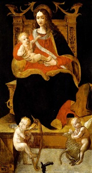 madonna con bambino e due angeli by giovanni andrea de magistris