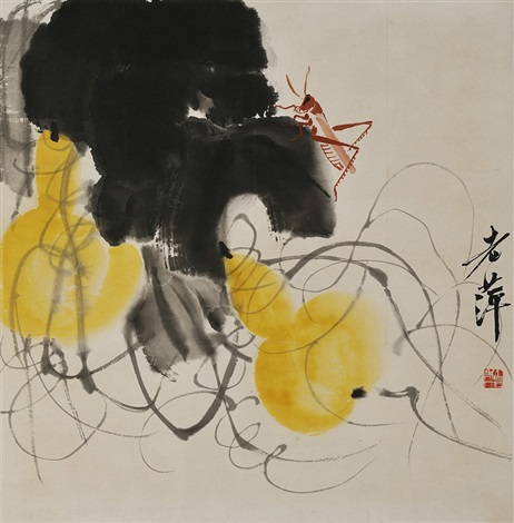 葫芦螳螂图 two gourds and a grasshopper by qi baishi
