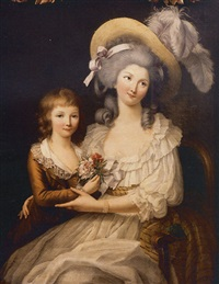 portrait de jeune femme et de son fils by marie-victoire lemoine