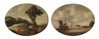 a hilly landscape with travelers resting on a track (+ a coastal landscape with a small ship and a man-o-war on choppy waters; pair) by gillis (egidius i) peeters