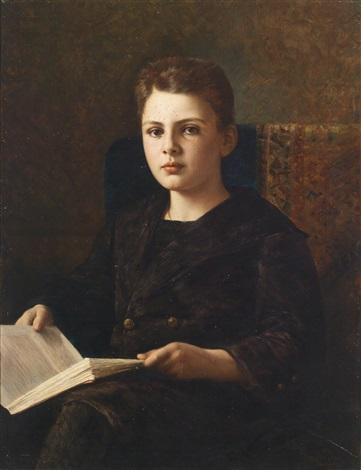 portrait des jungen oskar fraenkel ein buch haltend by ignace spiridon