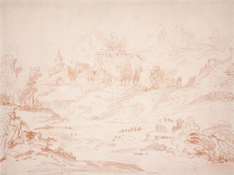 paysage animé after campagnola by jean antoine watteau