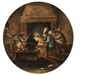 monkeys playing cards, smoking and drinking by abraham teniers