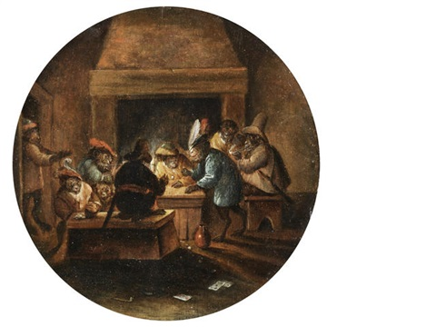 monkeys playing cards smoking and drinking by abraham teniers