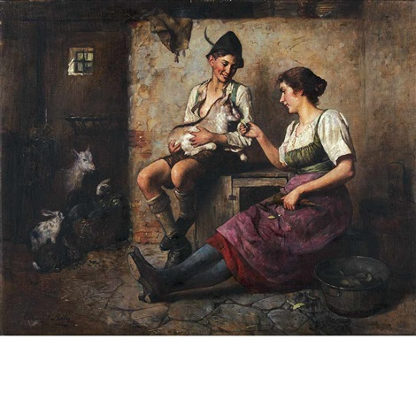 a snack in the stable by edmund adler