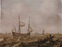 shipping vessels on choppy seas, with men in a fishing boat in the foreground by justus verwer