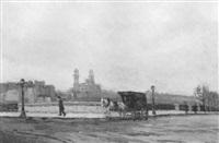 paris avec promeneur, calèche et vue de l'ancien trocadéro by jean constant raymond renefer