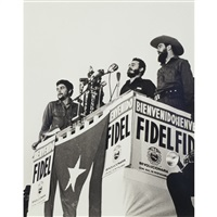 three commandants; fidel and raul castro and che guevara by raul corrales