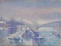 paris, les quais de la seine sous la neige by maximilien luce