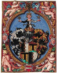 a coat-of-arms, surrounded by allegorical figures and putti by andreas fischer