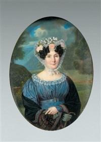 portrait de femme à la robe bleue, écharpe cachemire et coiffe de dentelle piquée de roses et myosotis by louis françois aubry