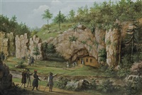 rocks and cave in mnikow by teodor baltazar stachowicz