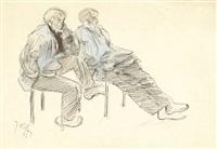 deux hommes en blouse bleue by jacques villon