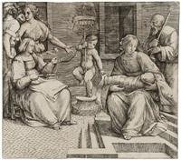 die heilige familie mit der heiligen elisabeth und johannes dem täufer als kind by giacomo francia
