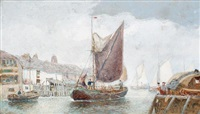 boats in harbour by george henry andrews