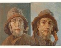 pêcheur fumant la cigarette (+ pêcheur fumant la pipe; pair) by albert isidore de vos