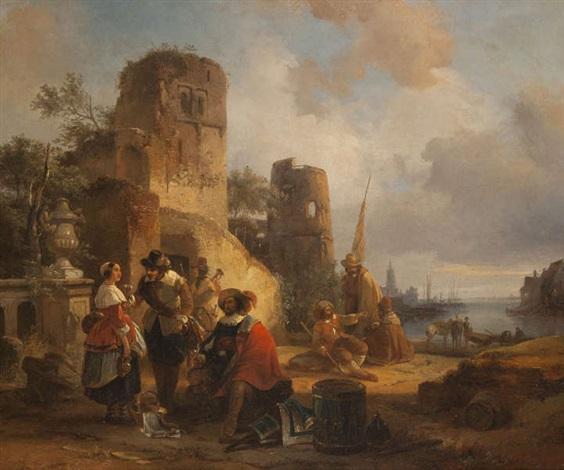 vue dun port animé dune compagnie au repos près de ruines by jean jan michael ruyten