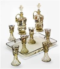 nine-piece decanter set by émile gallé