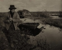 towing the reed, plate xxvi from life and landscape on the norfolk broads by peter henry emerson