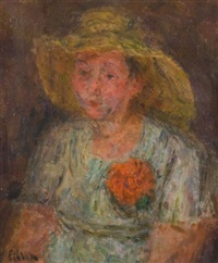 femme à la fleur by eugène ebiche