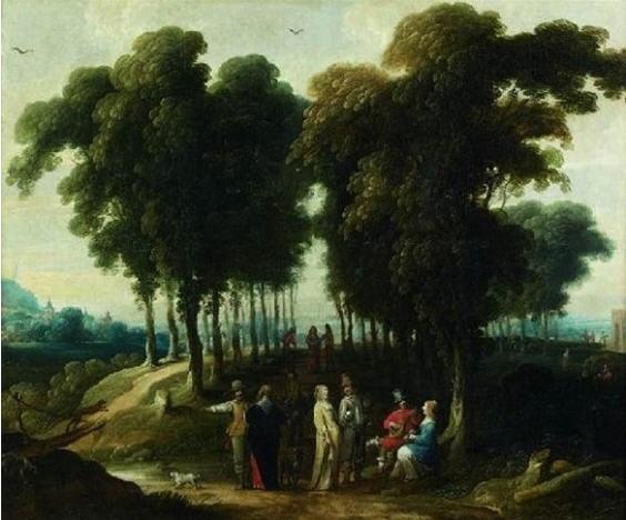 promeneurs à lorée dun bois by jan wildens