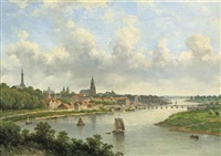 view of a riverside town by johannes jacobus antonius hilverdink