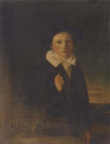 portrait of a boy in a blue coat, and black hat, an extensive landscape beyond by w.m. cormick