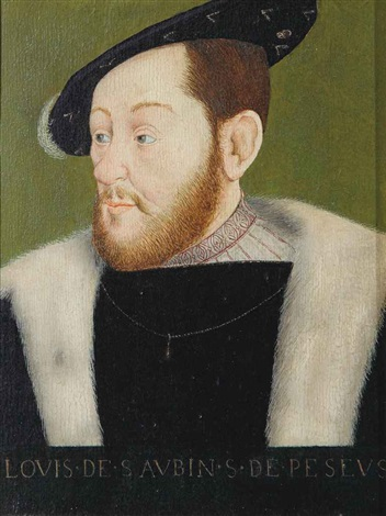 portrait of a gentleman said to be louis de saubin de peseus bust length in a black fur lined coat with a gold chain and plumed black hat by corneille de lyon