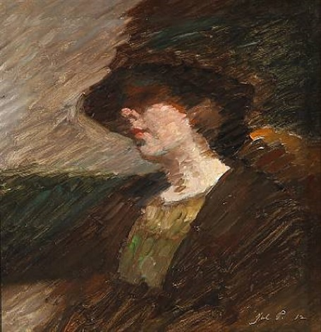 woman with a broad brimmed hat by julius paulsen