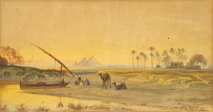 paysage orientaliste avec campement devant les pyramides by charles théodore frère bey frère