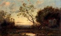 l'étang dans la forêt by charles félix edouard deshayes